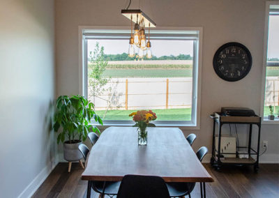 Schneider Custom Homes kitchen table and light fixture